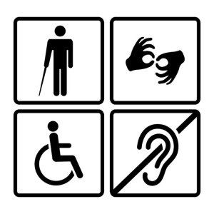 33943762 - vector disabled signs with deaf, dumb,mute, blind, wheelchair icons